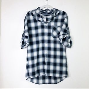 Vince Roll Sleeve Cowl Neck Plaid Tunic Black XS